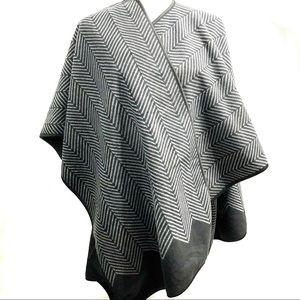 Ike Behar Blanket Style Fashion Wrap Herringbone
